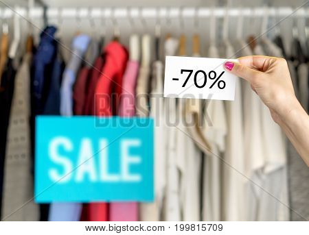 Minus seventy percent or 70% sale, bargain