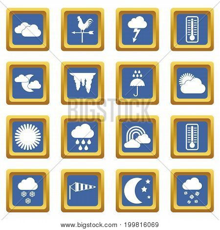 Weather icons set in blue color isolated vector illustration for web and any design