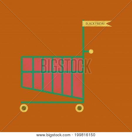 flat shading style icon Shopping Cart black Friday