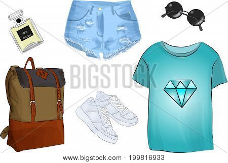Vector of hand drawn fashion illustration isolated on white background. A set of summer outfit collection with accessories. Casual outfit.