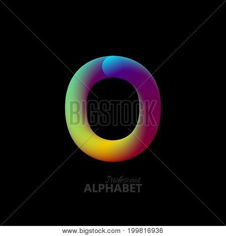 3d iridescent gradient letter O. Typographic minimalistic element. Vibrant gradient shape. Liquid color path. Creativity concept. Visual communication poster design. Vector illustration. Logo template