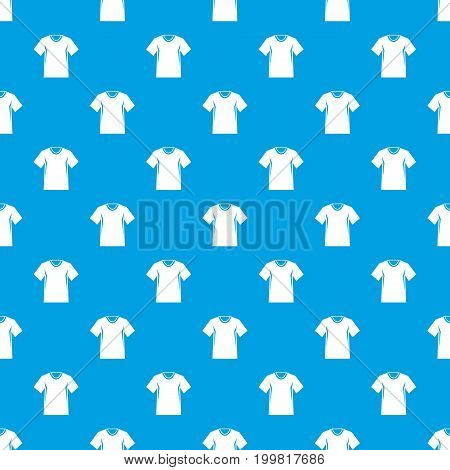 Men tennis t-shirt pattern repeat seamless in blue color for any design. Vector geometric illustration