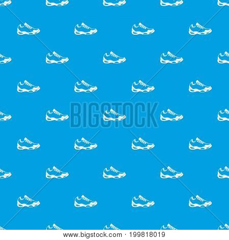 Sneakers for tennis pattern repeat seamless in blue color for any design. Vector geometric illustration