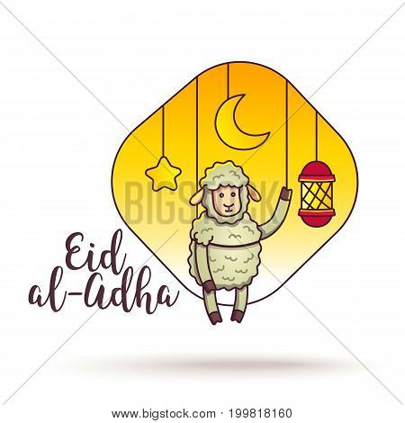 Eid-ul-adha greeting card design. Festival of Sacrifice. Vector flyer