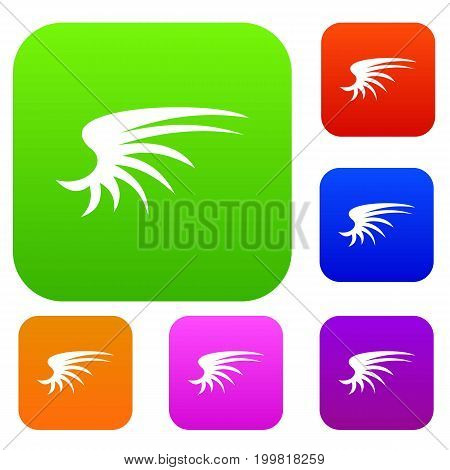 Wing set icon in different colors isolated vector illustration. Premium collection
