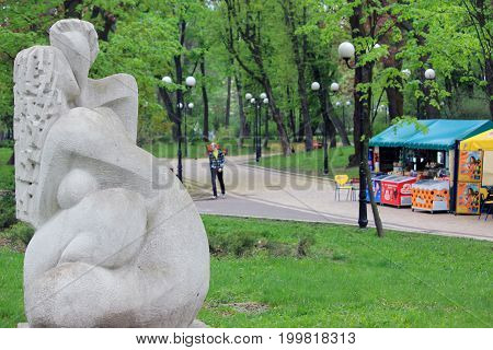 KIEV, UKRAINE - MAY 3, 2011: This is one of modern sculptures in the Mariinsky Park which is located in the center of the city.