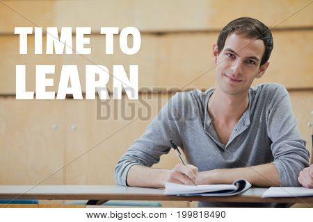 Digital composite of Education and time to learn text and man sitting in a class