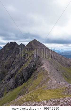 Mountain Ridge Leading To An Teallach Munros In Scottish Highlands