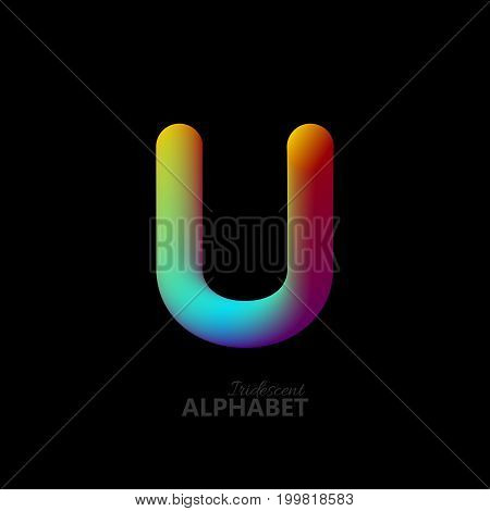 3d iridescent gradient letter U. Typographic minimalistic element. Vibrant gradient shape. Liquid color path. Creativity concept. Visual communication poster design. Vector illustration. Logo template