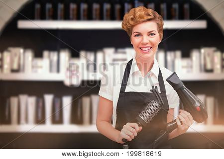 Portrait of beautiful hairdresser  against various products on rack for sale