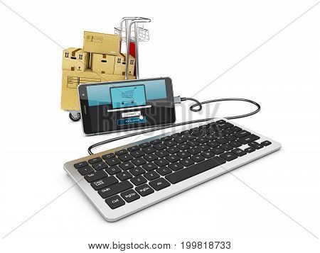 3D Illustration Of Smart Phone With Shopping Trolley And Keyboard