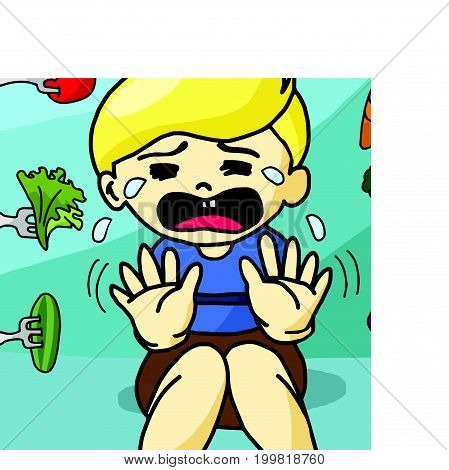 The boy does not like healthy food vector illustration