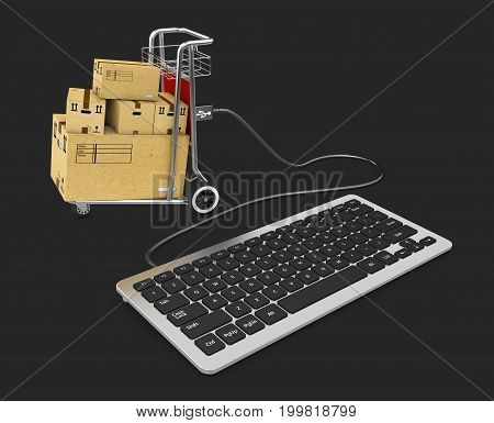 Keyboard And Shopping Trolley Connected Via Usb, Isolated Black, 3D Illustration