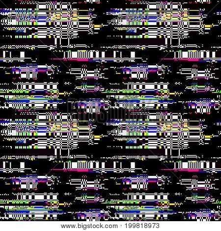 Glitch pattern. Computer screen error. Digital pixel noise abstract design. Television signal fail. Data decay. Glitch seamless texture. Monitor technical problem.