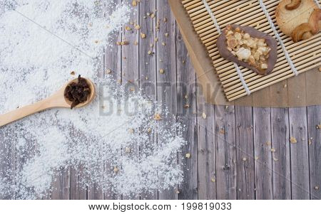 Dark vintage background with various homemade cookies. Healthy eating and cooking concept. Top view. Rustic style.