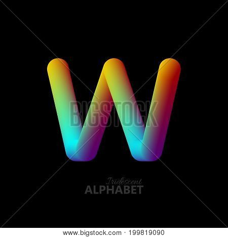 3d iridescent gradient letter W. Typographic minimalistic element. Vibrant gradient shape. Liquid color path. Creativity concept. Visual communication poster design. Vector illustration. Logo template