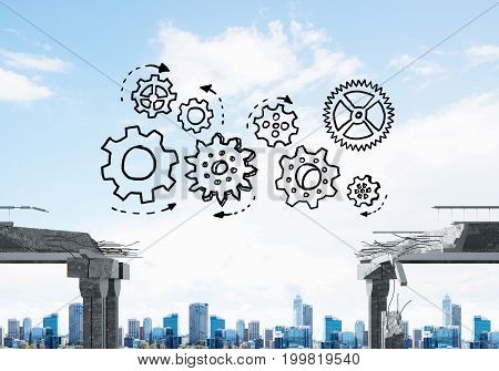 Sketched gear mechanism over gap in concrete bridge as symbol of teamwork and problem solving. Cityscape on background. 3D rendering.
