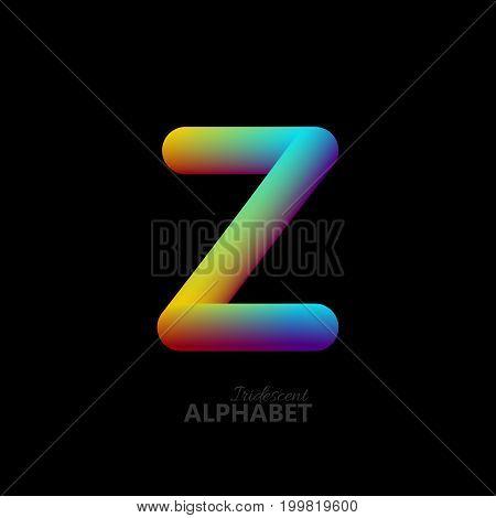 3d iridescent gradient letter Z. Typographic minimalistic element. Vibrant gradient shape. Liquid color path. Creativity concept. Visual communication poster design. Vector illustration. Logo template