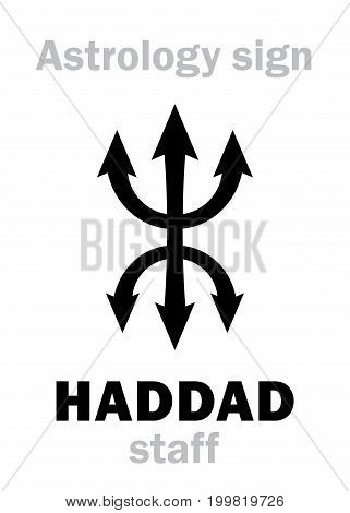 Astrology Alphabet: HADDAD staff. Hieroglyphics character sign (single symbol).