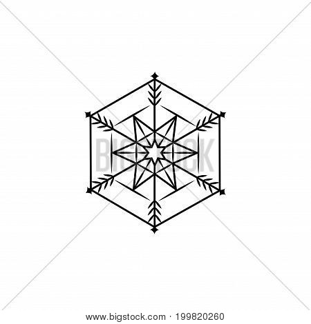 Snowflake sign. Snow flake icon. Silhouette design black snowflake on white background. Symbol of winter decoration and Christmas holiday season. Isolated graphic element. Flat vector illustration