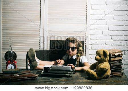 Child With Briefcase And Alarm Clock.