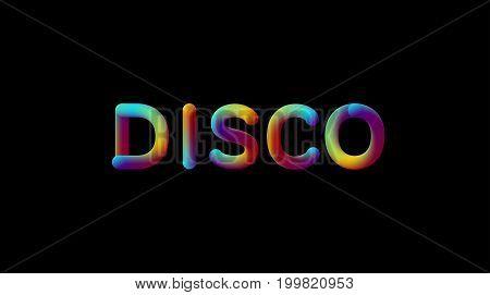 3d iridescent gradient Disco sign. Typographic element. Vibrant gradient shape. Liquid color path. Creativity concept. Visual communication poster design. Vector illustration. Disco club party banner