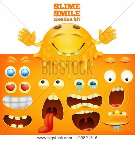 Slime yellow smiley face creative set. Vector illustration