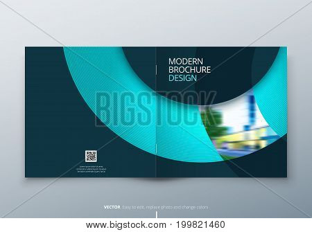 Square Brochure design. Teal corporate business rectangle template brochure, report, catalog, magazine. Brochure layout modern circle shape abstract background. Creative brochure vector concept