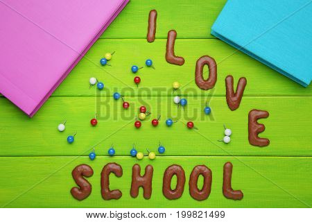 I Love School Written By Chocolate Cookies Alphabet With Notebooks And Pins