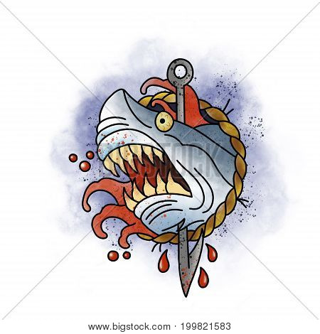 Stylized shark. Tattoo design. Cartoon illustration, hand drawn style.