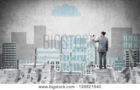 Businessman in suit standing among flying letters with speaker in hand with sketched cityscape view on background. Mixed media.