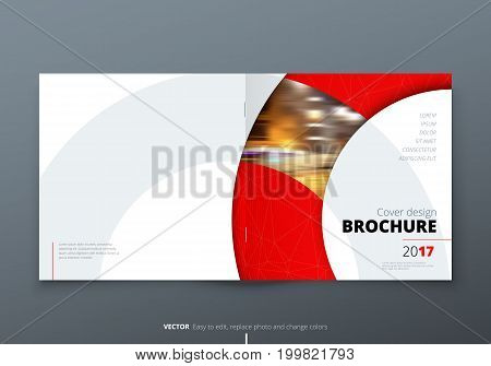 Square Brochure design. Red corporate business rectangle template brochure, report, catalog, magazine. Brochure layout modern circle shape abstract background. Creative brochure vector concept