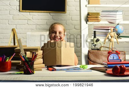 Childhood And Back To School Concept. Girl With Happy Face