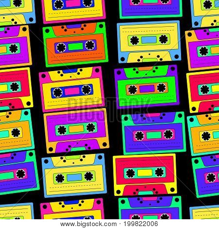 Bright colorful retro cassette seamless pattern on a black background. Vector illustration