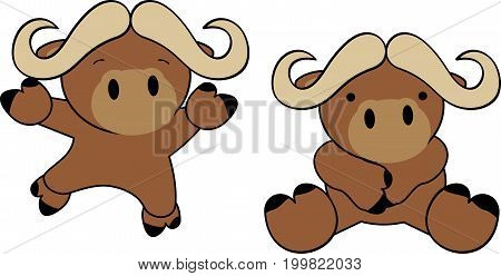 sweet happy baby ox cartoon set in vector format very easy to edit