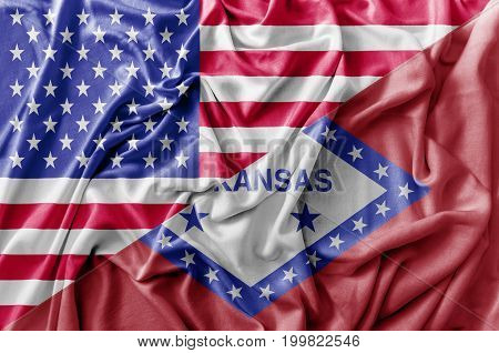 Ruffled waving United States of America and Arkansas flag