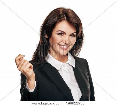 Portrait of smiling happy business woman snapping fingers