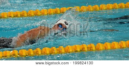 Hong Kong China - Oct 30 2016. Katinka HOSSZU (HUN) swimming in the Women's Freestyle 400m Final. FINA Swimming World Cup Victoria Park Swimming Pool.