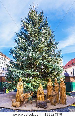 Statue of Peace Light of Bethlehem in Bratislava Slovakia.