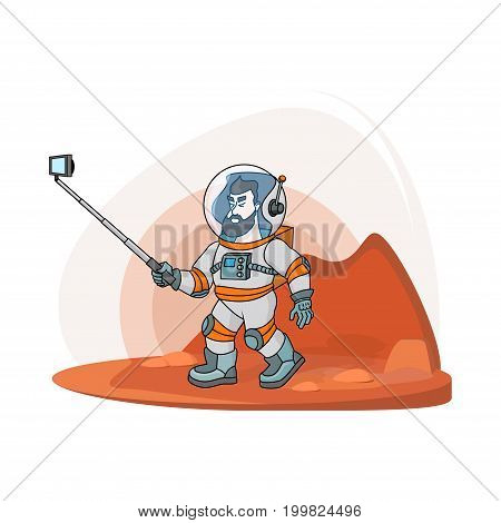 Vector flat astronaut making selfie.Modern creative illustration men with phone in universe on red planer with selfie stick. Cosmos space travel on the moon print