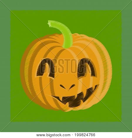 flat shading style icon of Halloween pumpkin emotions