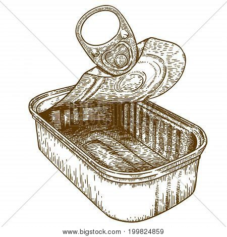 Vector antique engraving illustration of open tin can conserve isolated on white background
