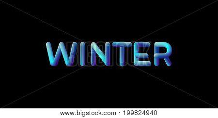 3d gradient Winter season sign. Typographic minimalistic element. Vibrant blended gradient label. Liquid color. Creativity concept. Visual communication poster design. Vector illustration.