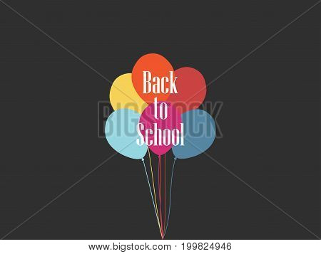 Back To School Flying Balloons. September 1 Day Of Knowledge. Vector Illustration