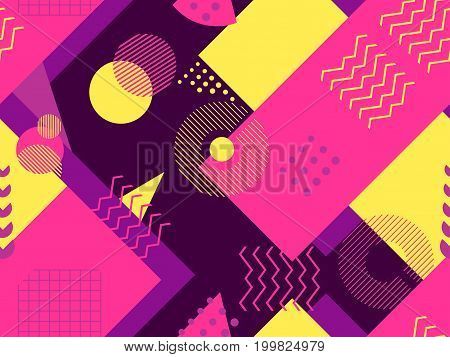 Memphis Seamless Pattern. Geometric Elements Memphis In The Style Of 80's. Bauhaus Retro. Vector Ill