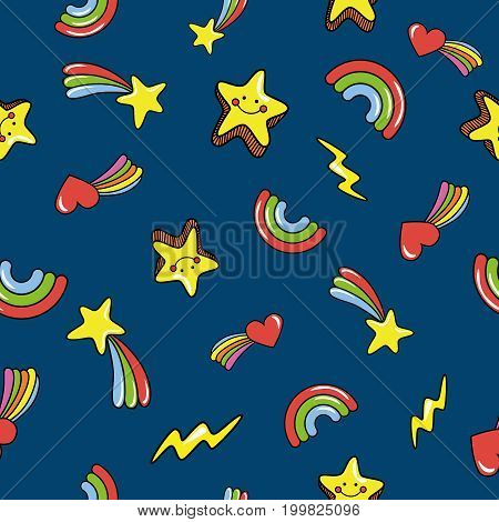 Seamless pattern with cute smiling stars. doodle comets lightnings rainbows on deep dark blue background. Vector illustration.