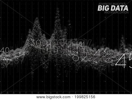 Vector abstract monochrome financial big data graph visualization. Futuristic infographics aesthetic design. Visual information complexity. Intricate data threads chart. Business analytics.