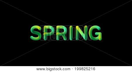 3d gradient Spring season sign. Typographic minimalistic element. Vibrant blended gradient label. Liquid color. Creativity concept. Visual communication poster design. Vector illustration.