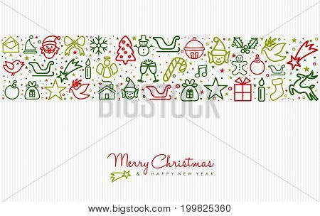 Christmas And New Year Line Art Icon Greeting Card