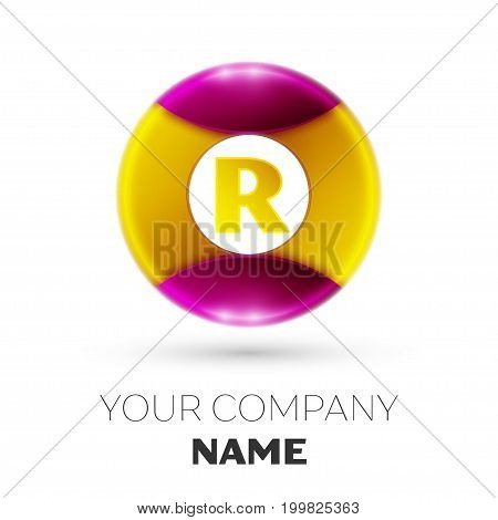 Realistic Letter R vector logo symbol in the colorful circle on white background. Vector template for your design